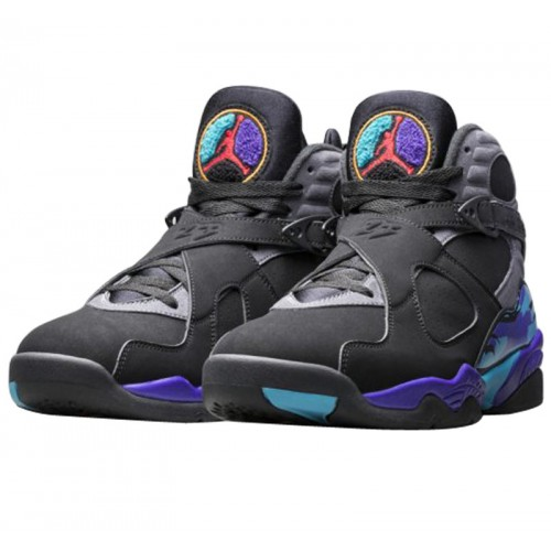 Authentic 305381-025 Air Jordan 8 Retro Black True Red-Flint Grey-Bright Concord (Men Women)
