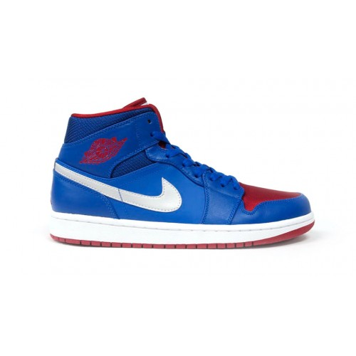 554724-407 Air Jordan 1 Retro Mid Detroit Pistons Game Royal Gym Red-White