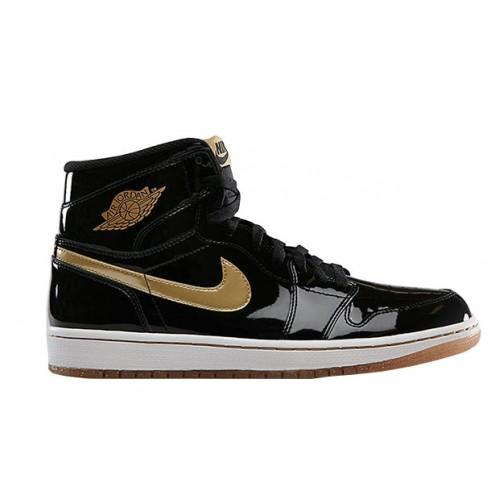 hot sale online c2649 266ee 555088-019 Air Jordan 1 Retro High OG Black Metallic Gold-White