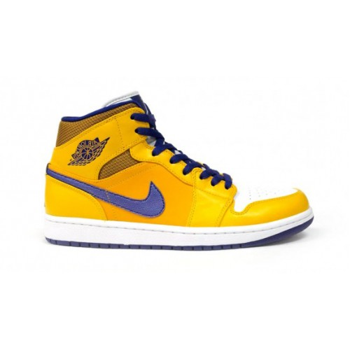 554724-708 Air Jordan1 Retro Mid Los Angeles Lakers University Gold Tour Yellow-White-Grape Ice
