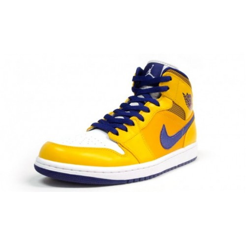 aac0f9cd8c9aca 554724-708 Air Jordan1 Retro Mid Los Angeles Lakers University Gold Tour  Yellow-White ...