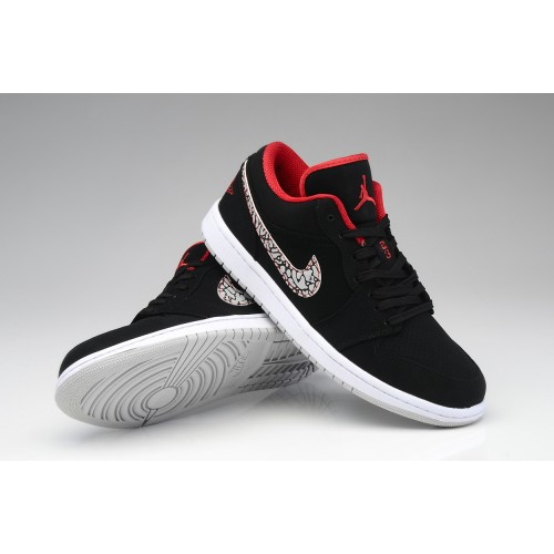 Air Jordan 1 Retro Mens Shoes Low Black Red