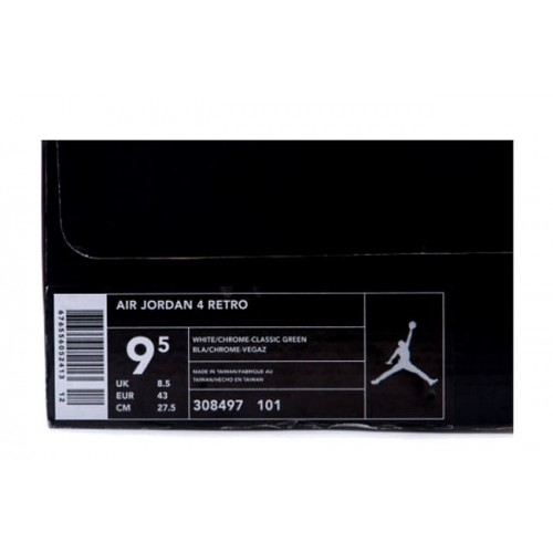 sale retailer f957a 86c0a ... 308497-101 Air Jordan IV 4 White Chrome Classic Green A04004 ...