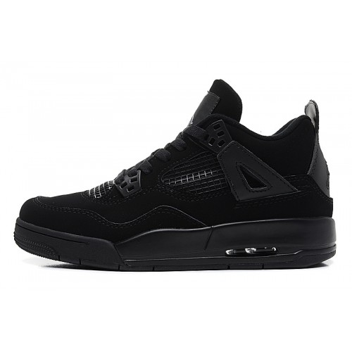 408452-001 Air Jordan 4 Womens Black Cat Black Black Shoes