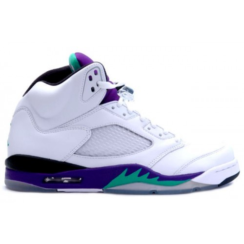 136027-108 Air Jordan 5 Retro Grape White New Emerald-Grape Ice-Black (Women Men Gs Girls)
