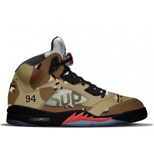 Authentic Air Jordan 5 Retro Desert Camo/Fire Red-Black (Men Women)