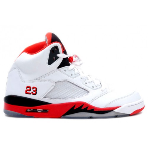 Jordan Retro 5 Fire Red 136027-120 White Fire Red-Black (Women Men Gs Girls)