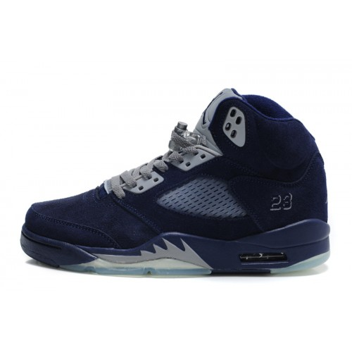 Air Jordan 5 Retro Womens Navy Blue Grey Furry Shoes