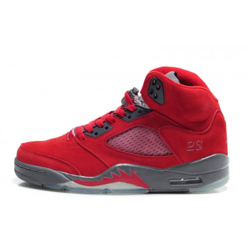 Air Jordan 5 Retro Womens Fire Red Grey Furry Shoes