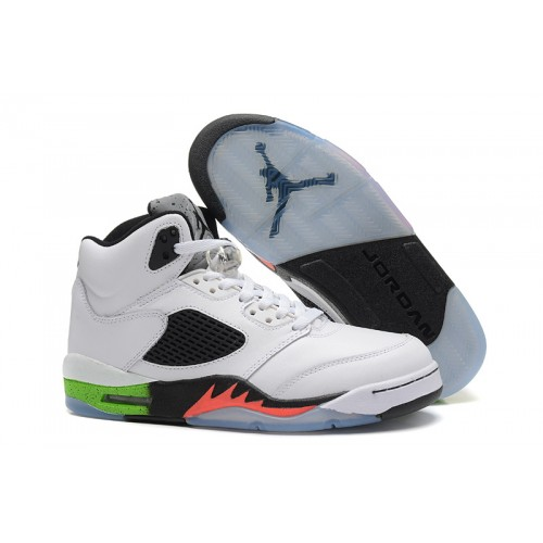 Air Jordan 5 Retro Mens White Radiant Green Orange Shoes