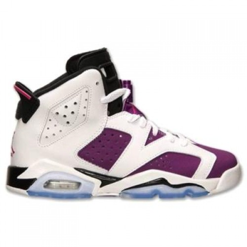 Authentic 543390-127 Air Jordan 6 GS White/Vivid Pink-Bright Grape-Black