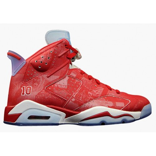 Authentic 717302-600 Air Jordan 6 Retro Varsity Red/Varsity Red-White Grade School's Shoe