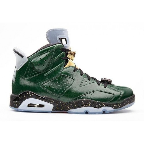 Authentic 384664-350 Air Jordan 6 Retro Pure Green/Metallic Gold-Chilling Red-Black