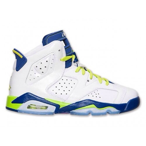Authentic 543390-108 Air Jordan 6 Retro Girl's White/Bright Grape-Deep Royal-Fierce Green