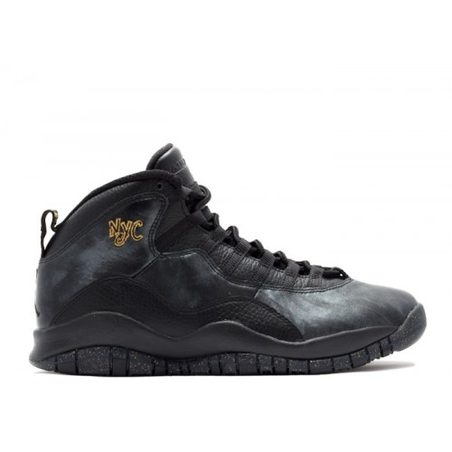 Authentic Air Jordan 10 Retro Black/Dark Grey-Metallic Gold (NYC) Men Shoes 310805-012