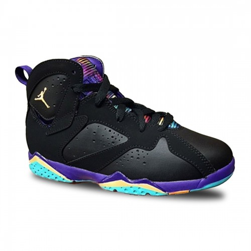 Authentic 705417-029 Air Jordan 7 Retro Girls Black/Bright Citrus-Court Purple-Light