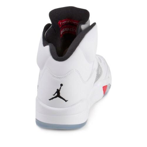 check out 08f80 97d32 ... Authentic 824371-101 Air Jordan 5 Retro Supreme White Fire Red-Black ( Men ...