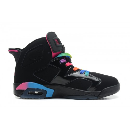 543390-050 Air Jordan Retro 6 GS - Black Pink Flash-Marina Blue